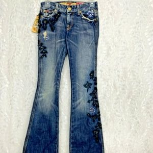 7FAM The Great China Wall Womens Jeans 25 Distress